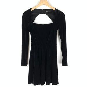 ASOS Black Velvet Open Back Mini Dress Sz 2